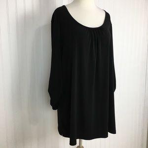 Susan Graver 3/4 sleeve black stretch top XL